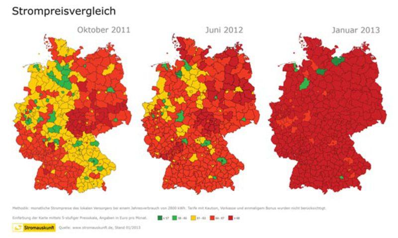 Abbildung: Strompreisvergleich in Deutschland